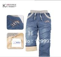 Retail - High quality 1pcs thick KK-RABBIT winter warm cashmere kids Boys baby jeans children pants