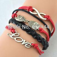 Pulseira Fashion Silver Love Owl Infinity Friendship Weave Leather Wrap Bracelets 20PCS/LOT Free Shipping