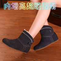 2013 female snow boots cotton boots thermal slip-resistant elevator boots flat boots