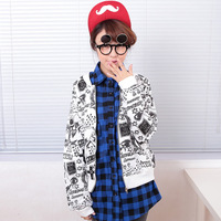 New arrival decorative pattern cartoon 2013 women's all-match female cardigan sweatshirt 7003
