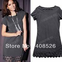 2013 New Women Stylish Fashion Tulip Cuff Circle Gray Mini Cotton Dress free shipping