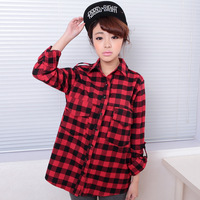 2013 new arrival autumn and winter plaid cotton women's all-match double pocket long-sleeve shirt 918