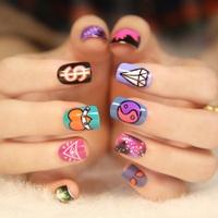 New 2014 Fashion Japanese Style HARAJUKU starry sky short design false nails,free shipping