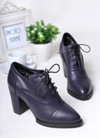 2013 autumn thick heel lacing high-heeled pointed toe women's shoes soft comfortable leather blue low fashion black