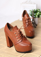 2013 fashion thick heel lacing boots shoes round toe soft leather low autumn