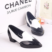 2013 autumn fashion shoes soft leather black colorant match pointed toe thick heel white