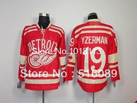 cheap Detroit Red Wings 2014 Winter Classic 19 YZERMAN red jersey men's ice hockey jerseys china, embroidery logo.