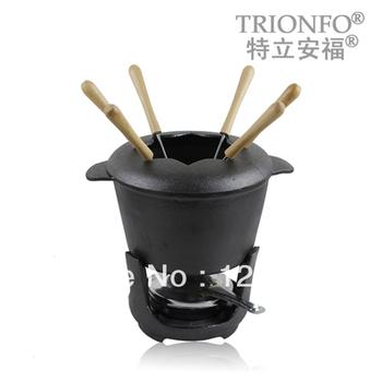 cast iron cookware pot  Pure plant oil trionfo chocolate sauce pot alcohol cooking pot 17cm coating fork