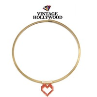 Wholesale fashion vintage hollywood necklace, red heart choker necklace 4  pieces / lot  FREE shipping