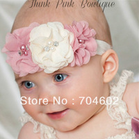 2013 New Product Promotion Baby Girls Hair Band Chiffon Pearl Flowers With Rhinestone Princess Headbands Retail 1piece FD182