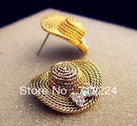 Korea Trendy Tide Female High Quality Lovely Straw Cap Stud Earrings Wholesale