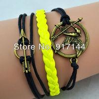 New Items!Bronze Arrow Game Friendship Yellow & Black Wrap Bracelet Bangle 20PCS/LOT Free Shipping