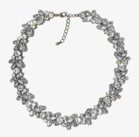 Free Shipping(MOQ 10$ Mix)Gold Plated Retro Luxury Rhineston Crystal Simulated Gemston Wreath Bib Choker Necklace Wholesale