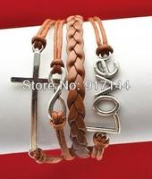 Wholesales!!Silver Cross Infinity Love Friendship Weave Leather Bracelets 20PCS/LOT Free Shipping