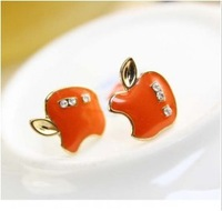 E440  Free Shipping Wholesales New Fashion Wild Personality Cute Apple Earrings Jewelry