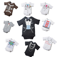 baby romper 2014 New arrival Baby Romper Doomagic short sleeve Wriggle-in Babysuit  Baby Clothing brand doctor gentlemen pattern