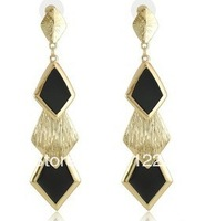 Fashion Office OL Female Vintage Personality Diamond Drip Long Drop Earrings
