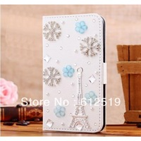 3D bling Rhinestone Snow Tower Blue Flower fold flip leather cover  for Samsung Galaxy S3 SIII I9300