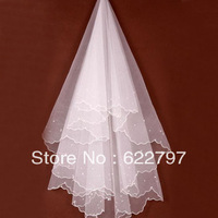 2014 Exquisite 1T 1.5M Ivory White Lace Edge Bridal Veil for Wedding Dress Accessories