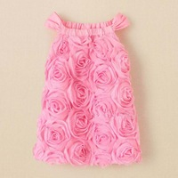 Wholesale Latest Design Pink Roses Girls Dress Strap Dress Girls Sleeveless Dress Princess Dress in Stock