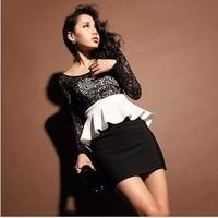 Amy krazy2013 elegant lace sexy V-neck patchwork bag slim hip slim one-piece dress