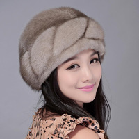 2013 fur hat female mink hair beret hat casual winter snow cap