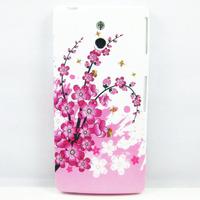Pink Sakura Flower TPU CASE COVER SKIN COATING For Sony Ericsson Xperia P LT22i