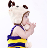 Free shipping -  5 colors Animal deer velvet warm hat knitted winter hats for children 11-7-2