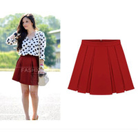 new arrival autumn and winter black red color fashion pleated skirt high waist big size mini short skirts women's 2013