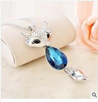 Fashion fox necklace women's all-match decoration chain long design Semi-precious necklace