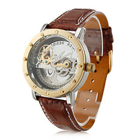 Men's Hollow Engraving Style PU Analog Automatic Wrist Watch (Brown)-WAT10113