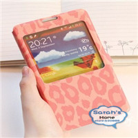 Free shipping 2013 Cute view window pinky clip leather mobile phone case protector for Samsung Galaxy note 3  N900