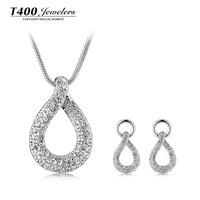 Jewelry sets ! T400 made with swarovski elements crystal necklace and earrings set, for women,Love knot #1372/2223,free shipping
