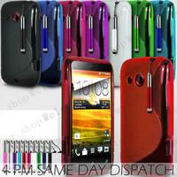 "High quality grinding ""S"" TPU cover case for HTC A320,Free shipping 300pcs{100pcs case + 100pcs film + 100pcs pen}"