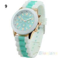 Hot Selling! 2013 New Fashion 10 Colors Women's Geneva Silicone Band Jelly Gel Quartz Analog Sports Wrist Watch