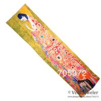 "Womens Green Luxury Satin Charmeuse Silk Scarf Oil Painting Gustav Klimt's ""Hope II"" Hand Rolled Edges Long Scarf Shawl"