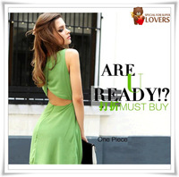 New model fashion Spring EU&US Vintage sleeveless Sexy&Club Backless Sexy dress free shipping  512-3