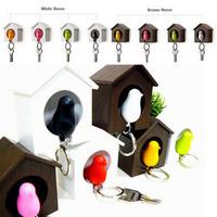Custom Cute Whistle keychain sparrow key small bird cage key ring