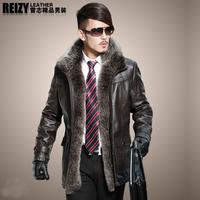 Genuine leather clothing male cotton-padded coat extra large fox fur sheepskin fur male genuine leather clothing