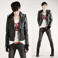 Autumn men's clothing slim male leather clothing outerwear male casual short design motorcycle leather jacket clothing
