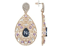 Drusy,Amethyst,Blue Topaz  18k Rose Gold Over Bronze Earrings