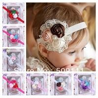 Baby Flower Headband Infant girls Headbands Headband with Rhinestones Photo Prop Weddings Special Occasion 10pcs HB164