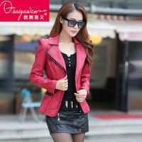 2014 jaqueta de couro feminina leather jacket autumn and winter women slim plus cotton size women's pu clothing outerwear design