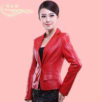 2014 real jaqueta de couro feminina autumn women genuine leather sheepskin clothes women's design slim blazer small suit jacket
