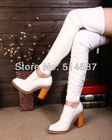2013 Designer women thigh high boots black and white leather thick heel over knee boots two pieces booty for women metal shoes