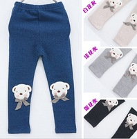 spring and autumn Kids Plus Velvet Cotton  Leggings bear Trousers girls leggings winter  kids leggings for girls