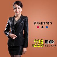 2013 autumn women's leather clothing genuine sheepskin leather clothing women's short design slim blazer suit jacket leather