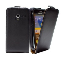 1pcs/lot Luxury Genuine leather case For samsung Galaxy Ace Plus S7500 real Leather flip Case Flipcover with black