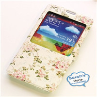 Korean style flowers case View window clip leather cover mobile phone back cover for Samsung Galaxy note 3 N9000 free shipping