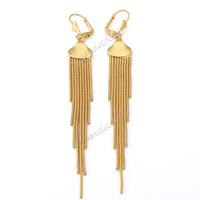 Womens Ladies Earrings Dangling Fringe Gold Filled Leverback Earrings GE41